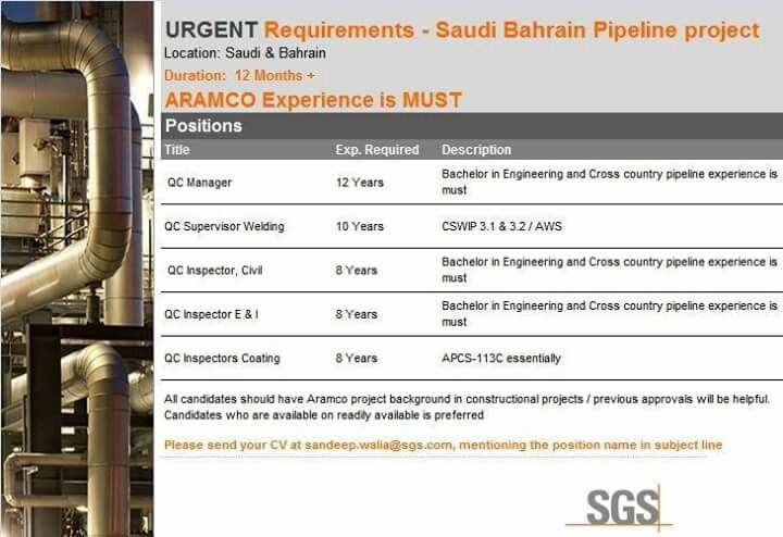 Pipeline Project gulf job vacancies