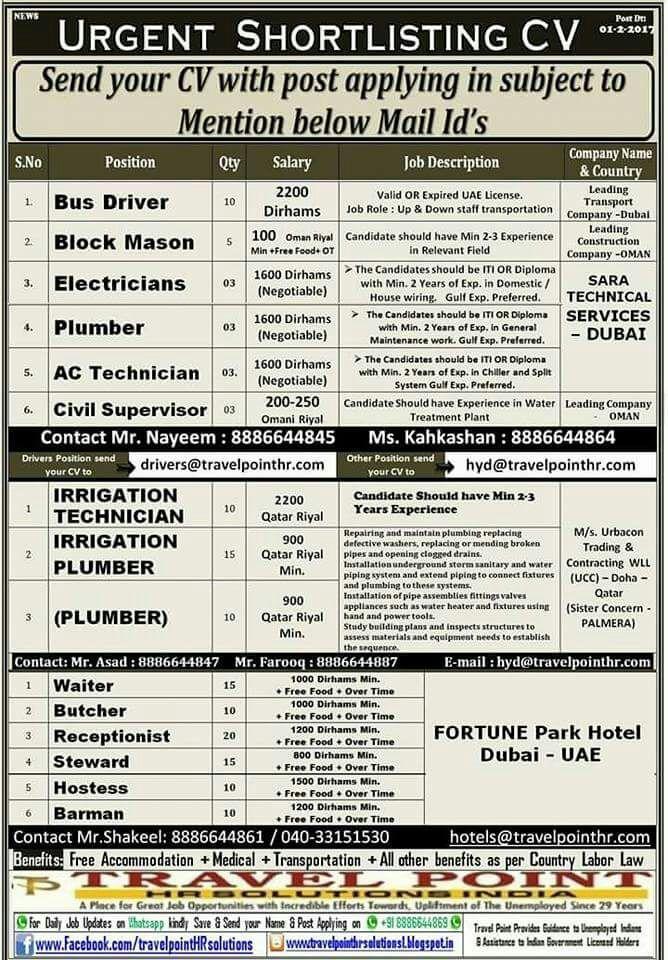 Gulf job Consultants in HYDERABAD