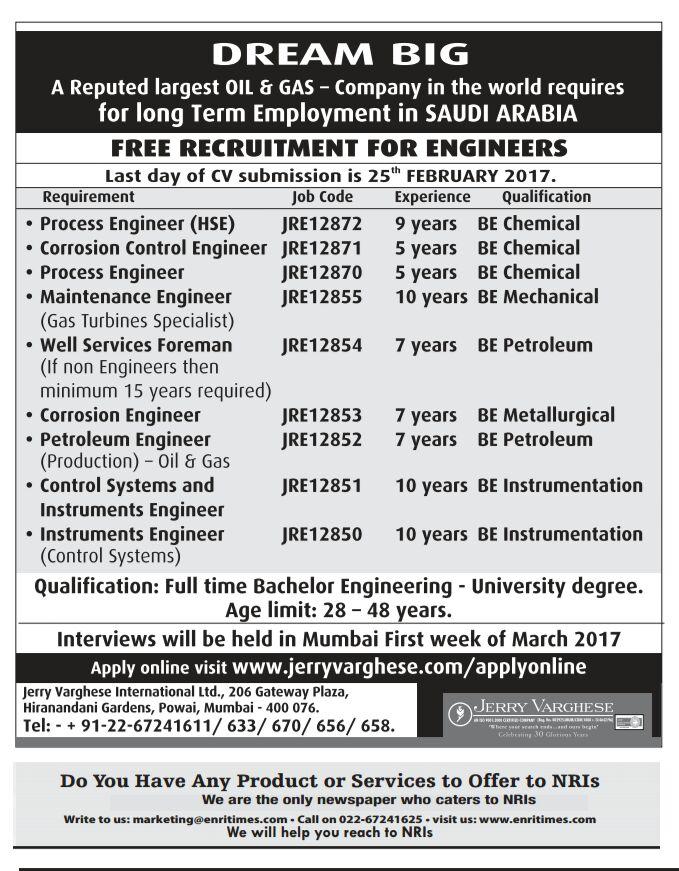 Gulf jobs WALKIN INTERVIEW