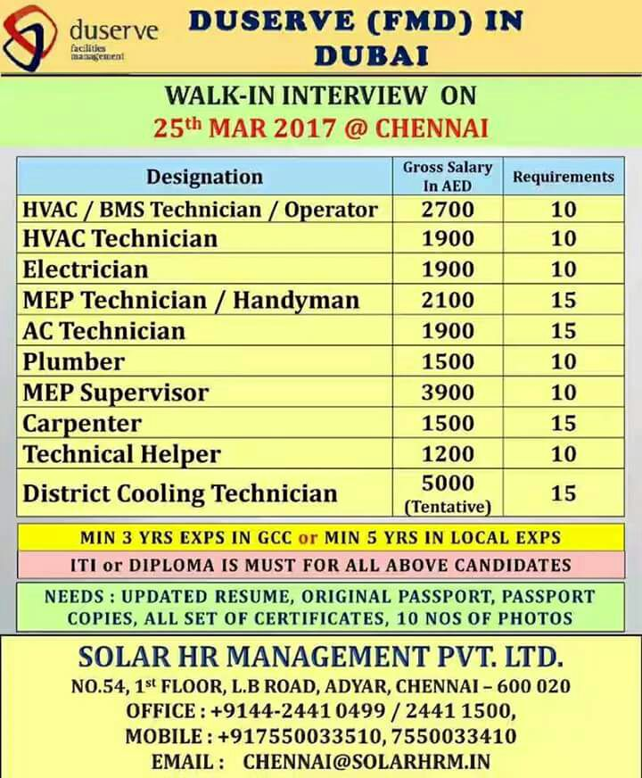 DUBAI JOB INTERVIEWS IN CHENNAI