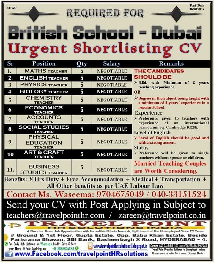 school jobs in dubai