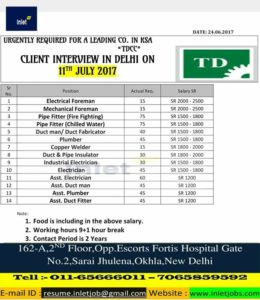 Gulf job walk in interview in delhi