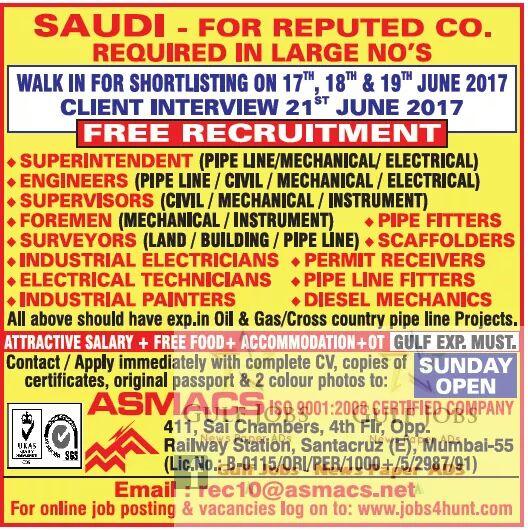SAUDI ARABIA JOBS VISA 2017