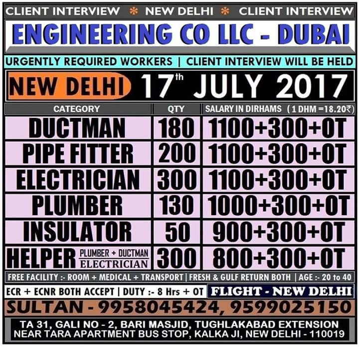 Dubai job vacancy 2017,