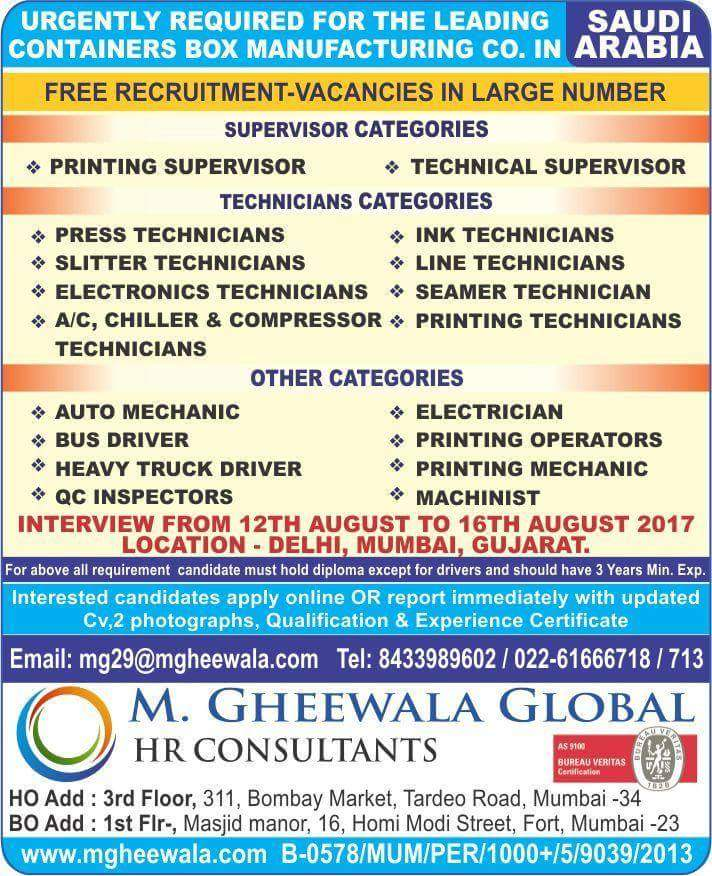 gheewala overseas jobs international