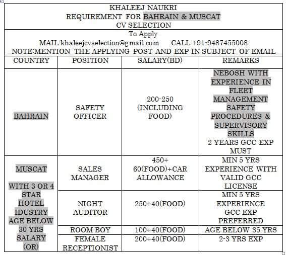 cv selection jobs