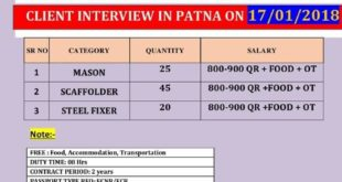 GULF JOB INTERVIEW IN PATNA
