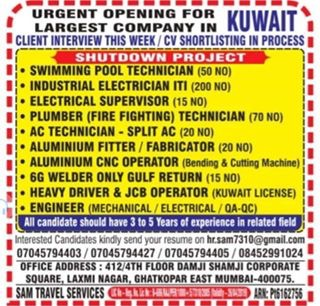 URGENT OPENING FOR LARGEST COMPANY IN KUWAIT