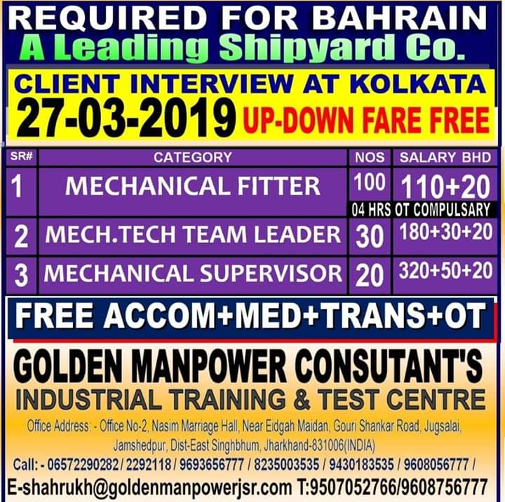 A Leading Shipyard Co required for  BAHRAIN