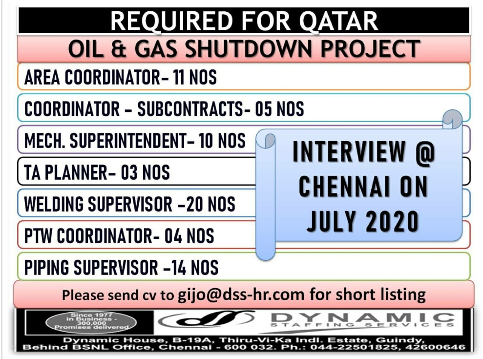 Interview in Chennai for Qatar oil and gas shutdown project