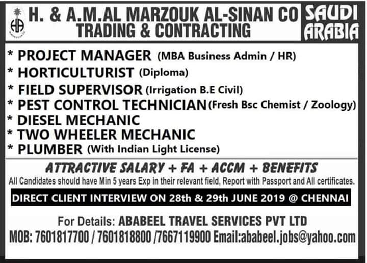 Direct Client Interview For Abroad Jobs in Chennai 2019 August 12, 2019