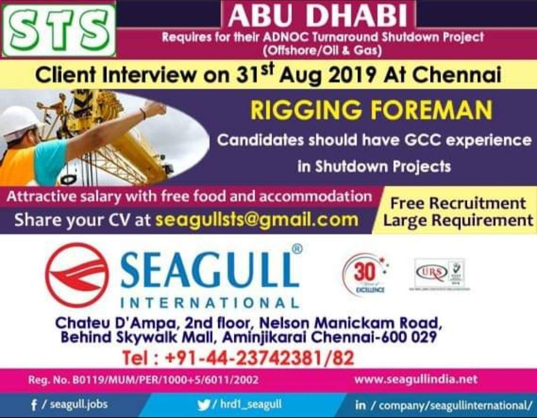 Direct Client Interview For Abroad Jobs in Chennai 2019