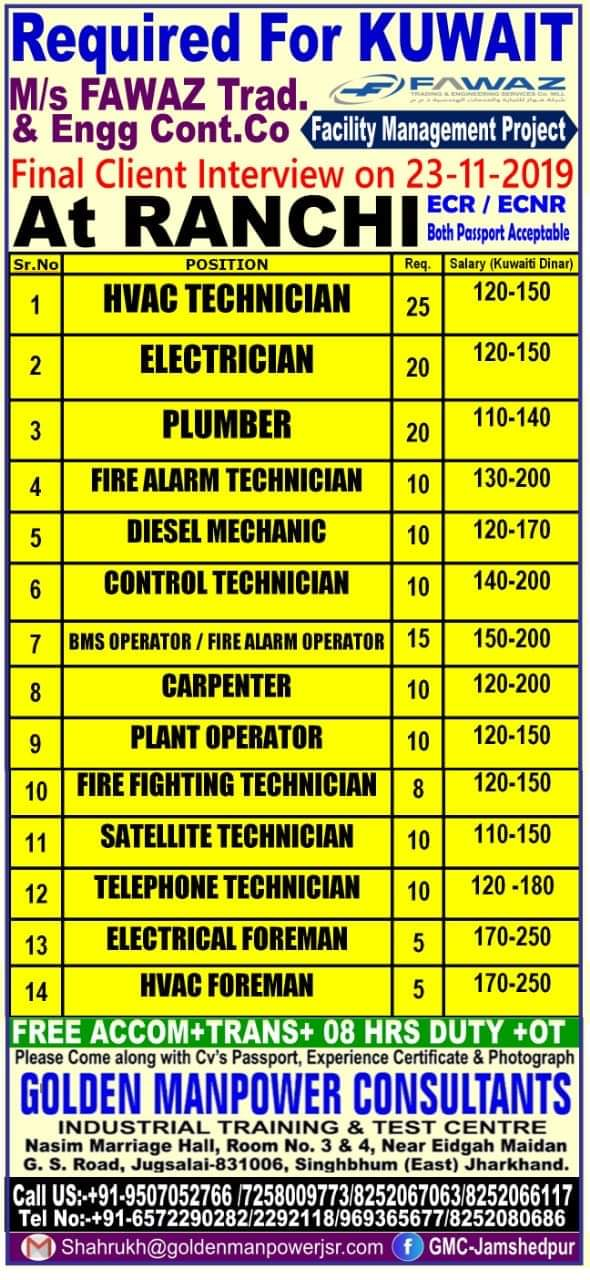 URGENTLY REQUIRED FOR KUWAIT
