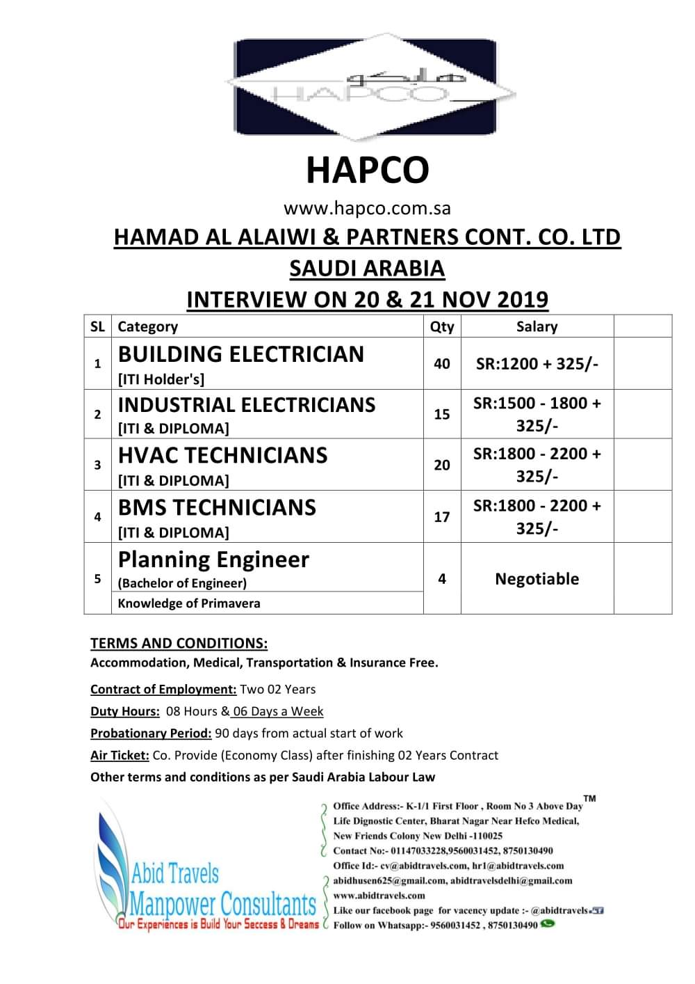 LARGE VACANCIES IN SAUDI ARABIA
