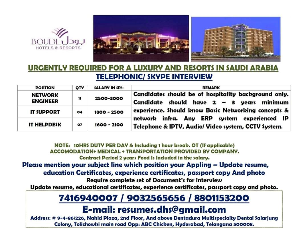 JOB VACANCIES IN A LUXURY RESORTS IN SAUDI ARABIA