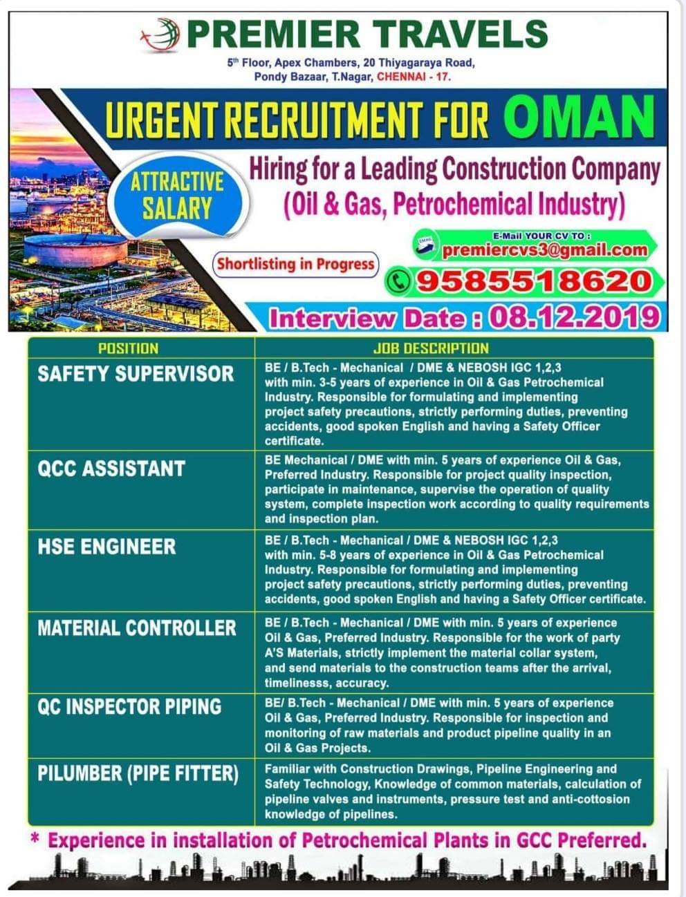 LARGE OPENINGS IN A LEADING CONSTRUCTION COMPANY IN OMAN