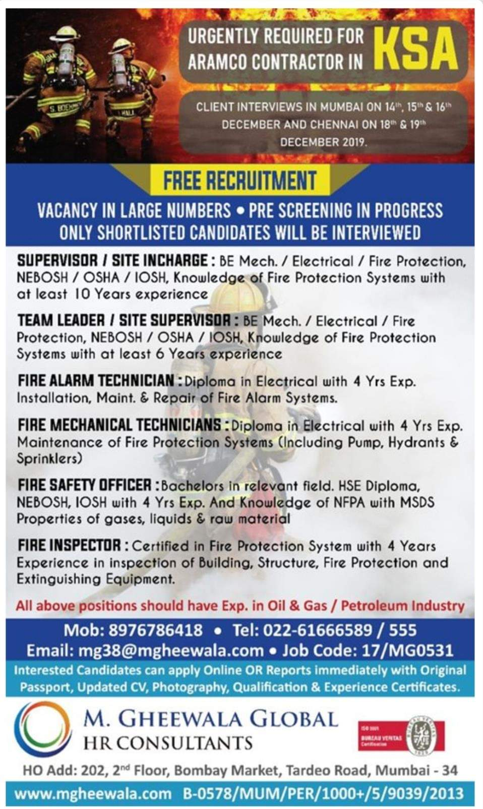 URGENTLY REQUIRED FOR ARAMCO CONTRACT IN KSA