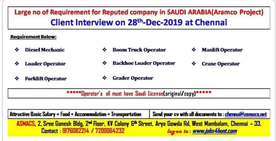 JOB VACANCIES IN A REPUTED COMPANY IN  SAUDI ARABIA