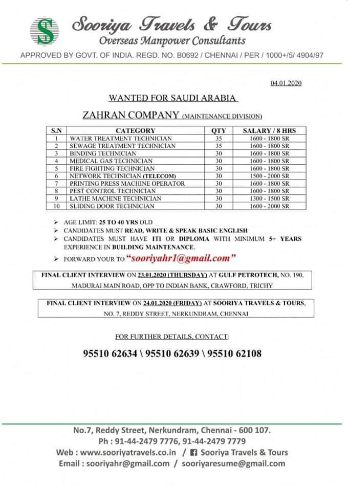 JOB VACANCIES IN SAUDI ARABIA'S  ZAHRAN COMPANY MAINTENANCE DIVISION