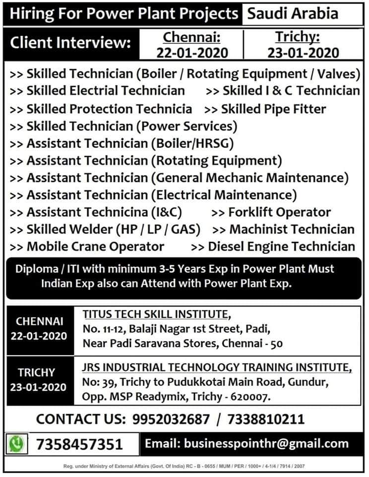 HIRING  FOR  POWER PLANT PROJECTS  IN  SAUDI ARABIA