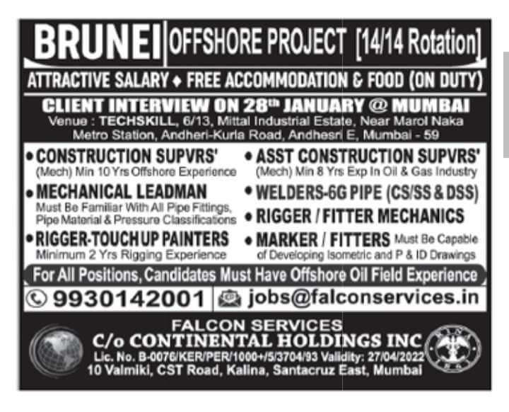 URGENTLY REQUIRED FOR OFFSHORE PROJECT IN BRUNEI