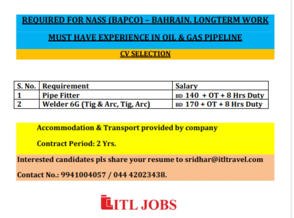 URGENTLY REQUIRED FOR BAHRAIN FOR THEIR REFINARY SHUTDOWN PROJECT