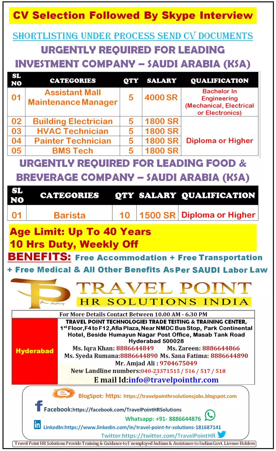 JOB OPENINGS IN A LEADING INVESTMENT COMPANY  IN SAUDI ARABIA