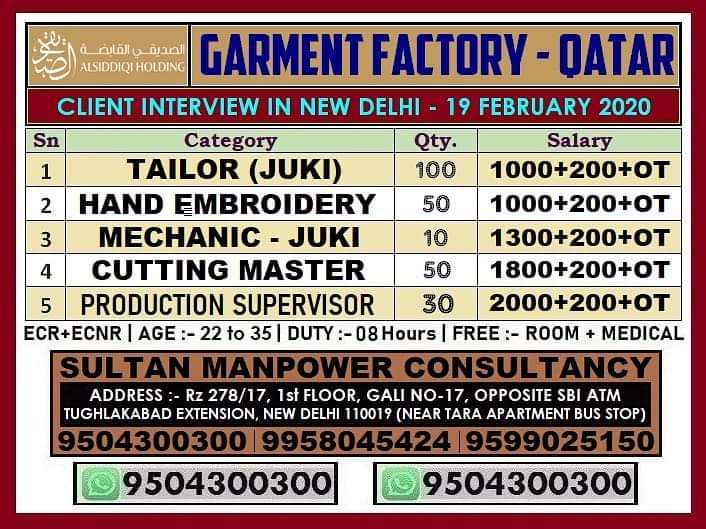 LARGE OPENINGS IN GARMENT FACTORY IN QATAR