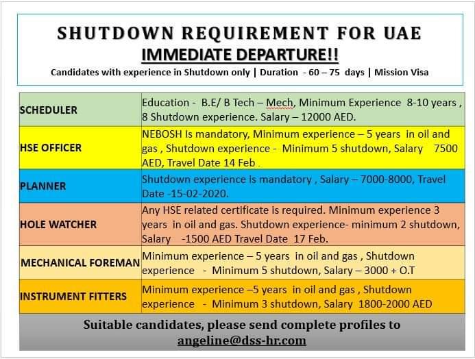 JOB VACANCIES IN UAE FOR SHUTDOWN PROJECT