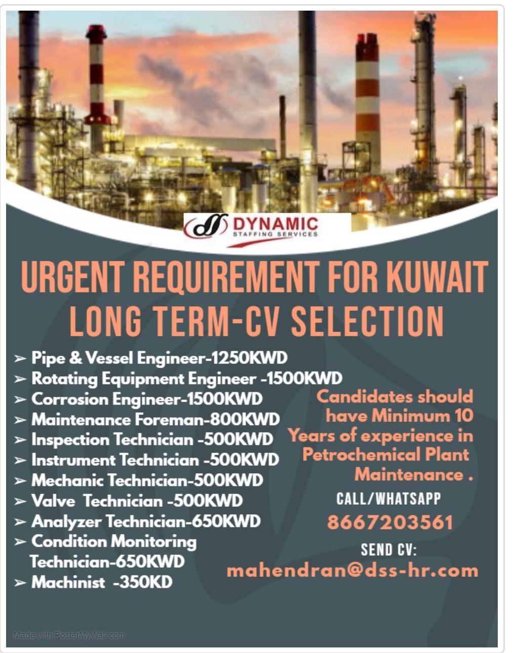 LARGE VACANCIES IN  KUWAIT