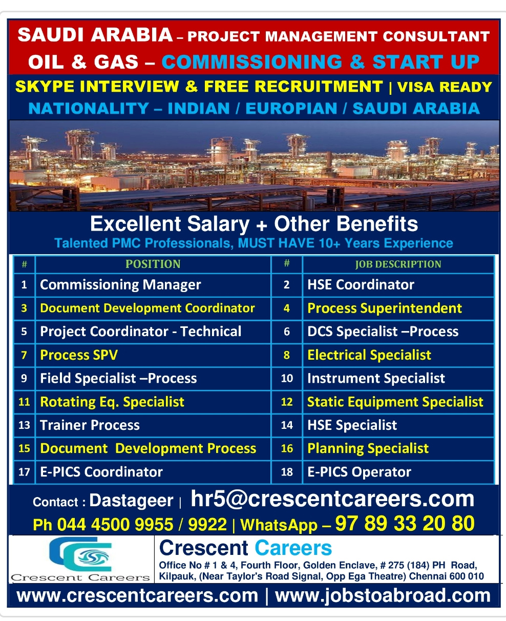 URGENTLY REQUIRED FOR PROJECT MANAGEMENT CONSULTANT IN SAUDI ARABIA
