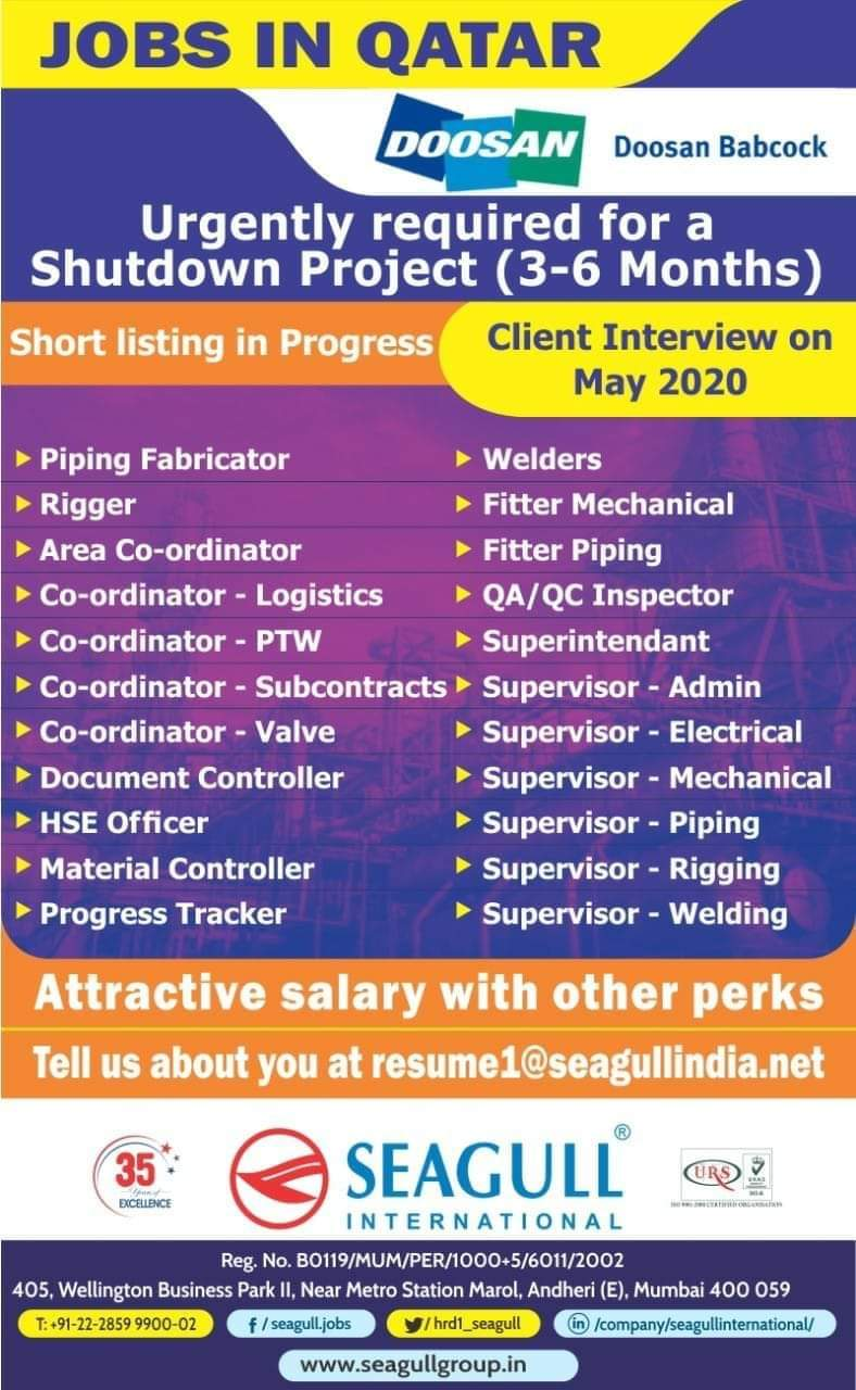 URGENTLY REQUIRED FOR A LEADING COMPANY  SHUTDOWN PROJECT IN QATAR