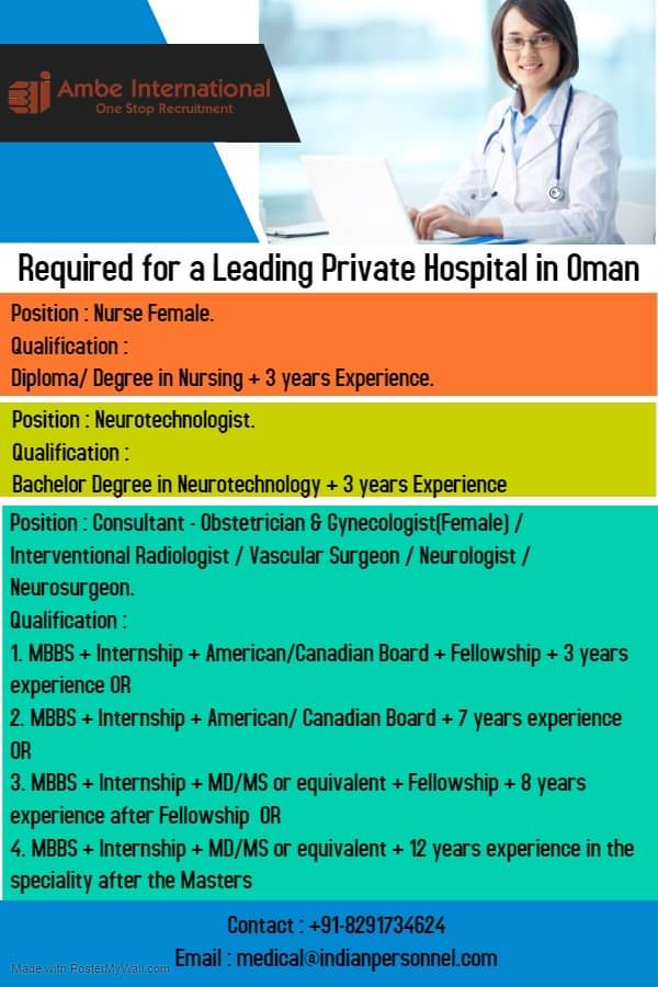 URGENTLY REQUIRED FOR A LEADING PRIVATE HOSPITAL IN OMAN