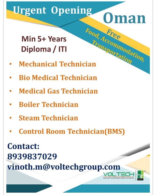 URGENTLY REQUIRED FOR A LEADING CO. IN OMAN