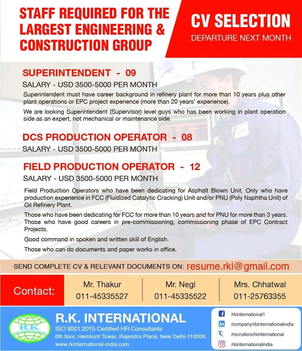 JOB OPENINGS IN LARGEST ENGINEERING AND CONSTRUCTION GROUP IN MIDDLE EAST