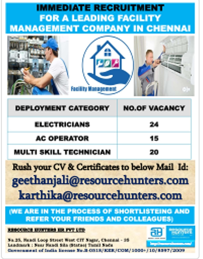 IMMEDIATE RECRUITMENT FOR A LEADING FACILITY MANAGEMENT COMPANY IN CHENNAI
