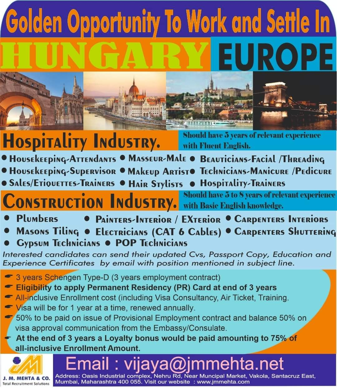 WALK-IN INTERVIEW AT MUMBAI IN HOSPITALITY AND CONSTRUCTION INDUSTRY
