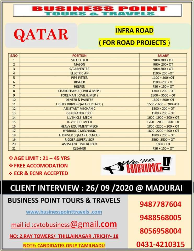 WALK-IN INTERVIEW AT TRICHY FOR QATAR IN INFRA ROAD PROJECTS