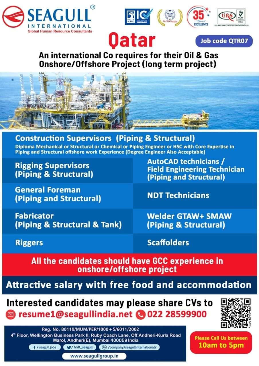 WALK-IN INTERVIEW AT MUMBAI FOR ONSHORE/ OFFSHORE PROJECT QATAR
