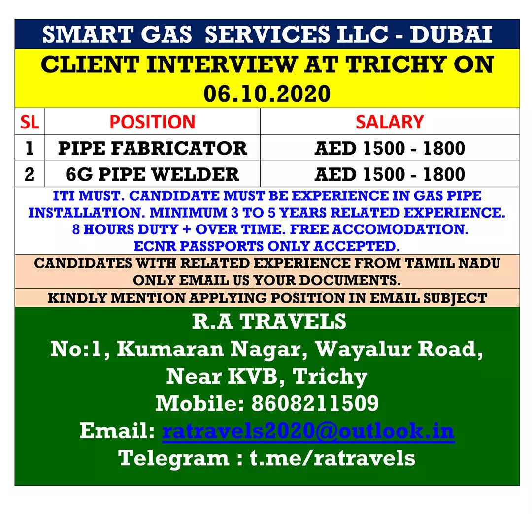 WALK-IN INTERVIEW AT TRICHY FOR SMART HEAD SERVICES LLC-DUBAI