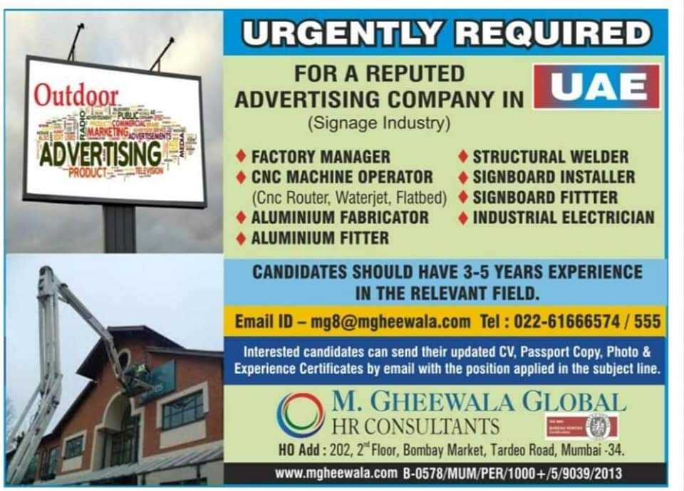 WALK-IN INTERVIEW AT MUMBAI FOR ADVERTISING COMPANY UAE