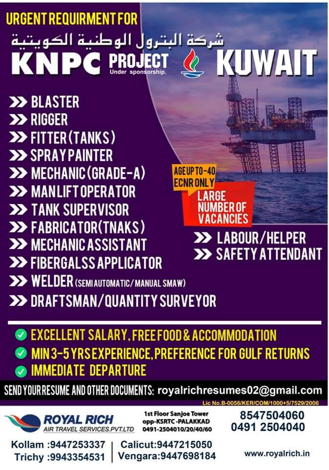 WALK-IN INTERVIEW AT PALAKKAD, KERALA FOR KUWAIT