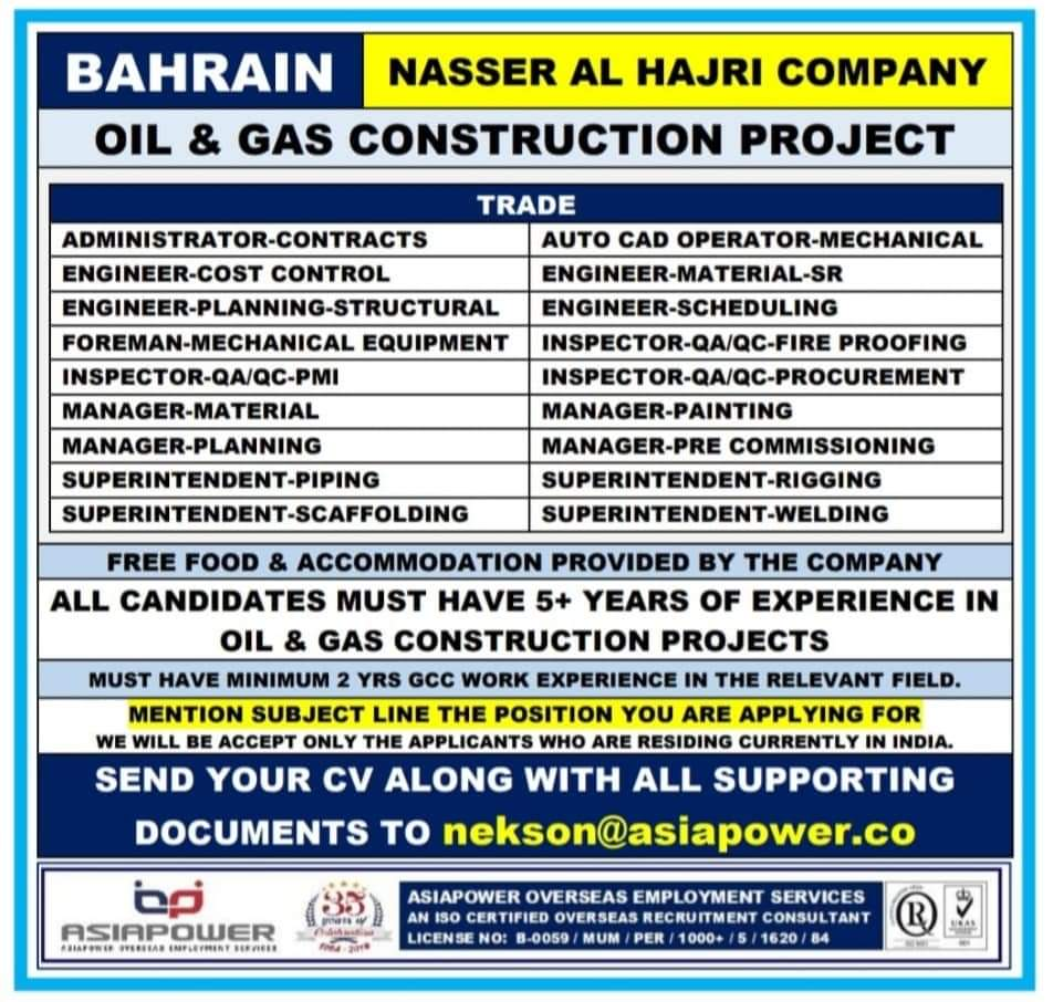 WALK-IN INTERVIEW AT MUMBAI FOR BAHRAIN NASSER AL HAJRI COMPANY