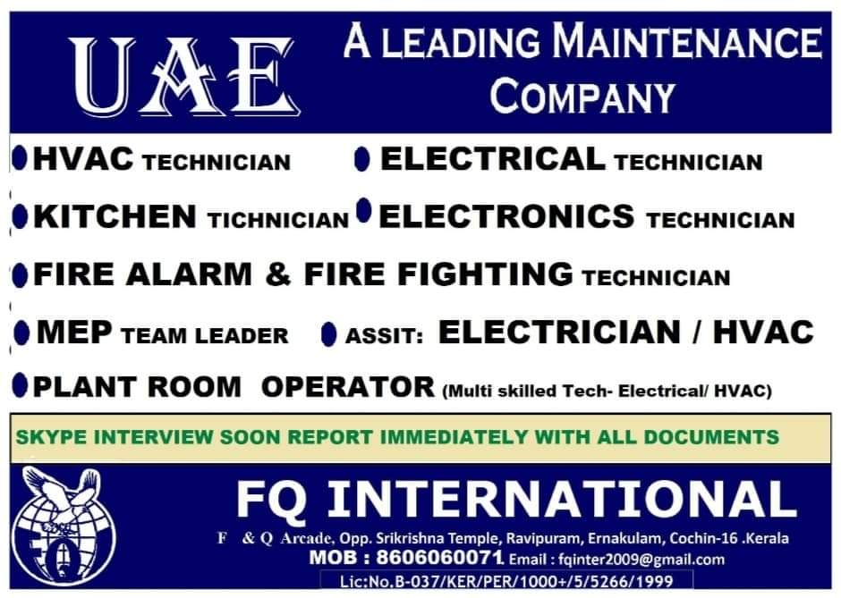 WALK-IN INTERVIEW AT KOCHI FOR MAINTAINANCE COMPANY UAE