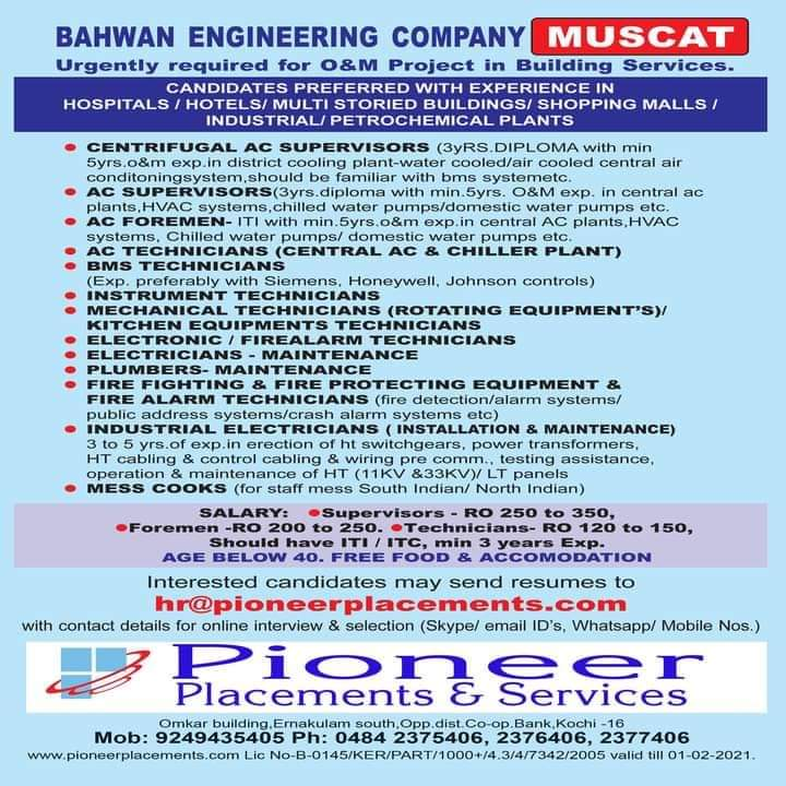 WALK-IN INTERVIEW AT KOCHI FOR BEHWAN ENGINEERING COMPANY MUSCAT