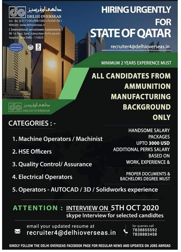 WALK-IN INTERVIEW AT NEW DELHI FOR STATE OF QATAR