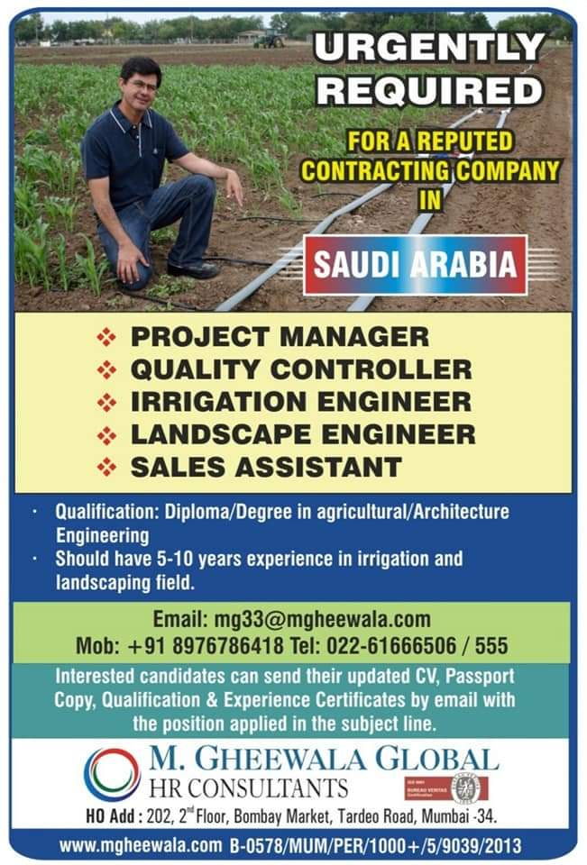 WALK-IN INTERVIEW AT SAUDI ARABIA FOR CONTRACTING COMPANY