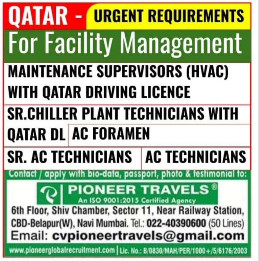 WALK-IN INTERVIEW AT MUMBAI FOR FACILITY MANAGEMENT QATAR