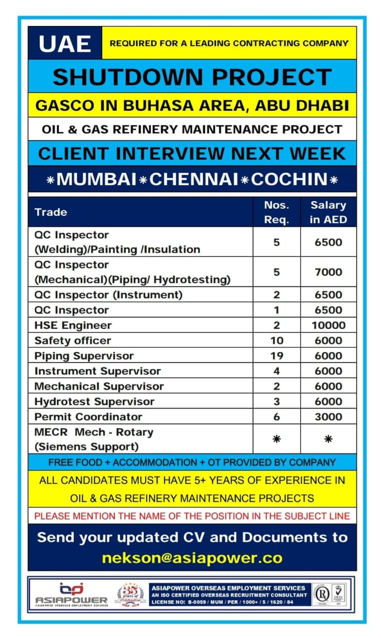 WALK-IN INTERVIEW AT MUMBAI FOR SHUTTING DOWN PROJECT GASCO IN BUHASA AREA, ABU DHABI