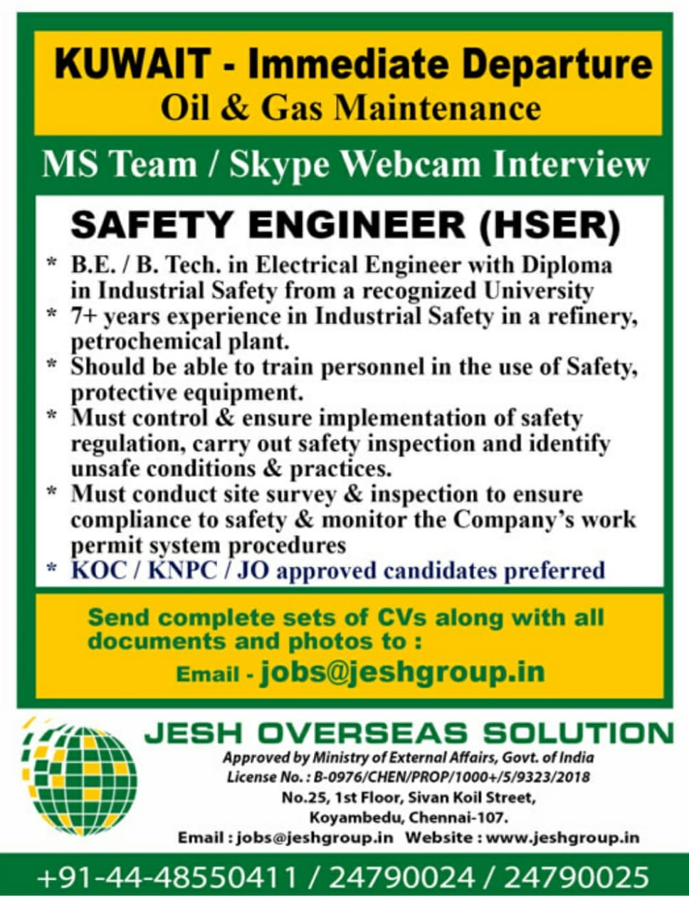 WALK-IN INTERVIEW AT CHENNAI FOR KUWAIT OIL AND GAS MAINTAINANCE